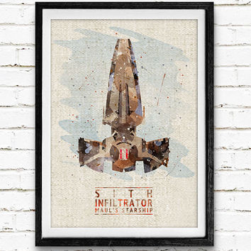 Star Wars Sith Infiltrator Watercolor Art Print, Starship Art Print, Watercolor Poster, Home Decor, Not Framed, Buy 2 Get 1 Free!