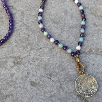 Comunication and Healing, Amethyst and Amazonite Beaded Necklace with Tibetan Pendant, 108 Bead Mala