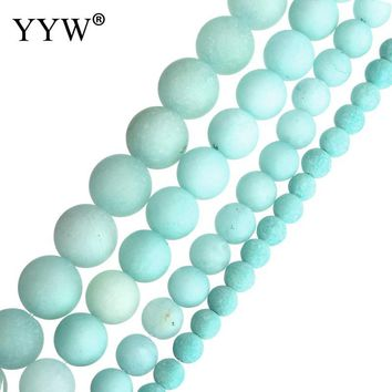 Wholesale Natural Stone Amazonite Frosted Beads Round Loose Beads 6mm 8mm 10mm 12mm For Jewelry Making Necklace DIY Bracelet