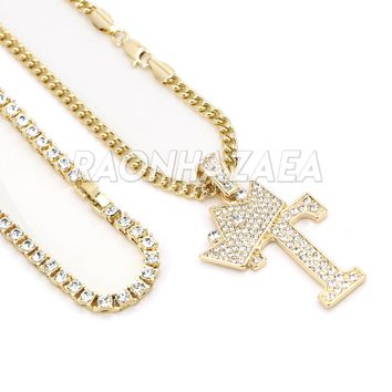Iced Out Crown T Initial Pendant Necklace Set
