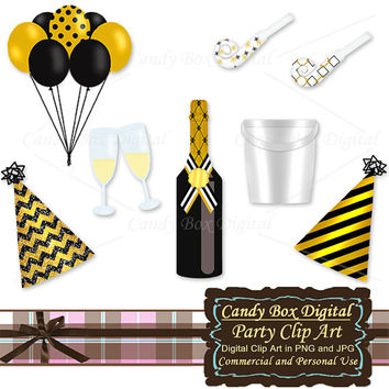 Gold Party Clip art, party clipart, new year clipart, anniversary clip art, new year graphics, birthday clipart - Commercial Use OK