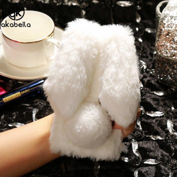 AKABEILA Fluffy Rabbit Fur Silicon Cases For Apple iPhone 6 6S iphone6 iphone6S Cover Bling Diamond Phone Shell Skin Covers