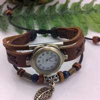 Wristwatches Handmade Wrist Watch Flower Shape Vintage Ladies Girls Womens Mens Leather Bangle Beaded Bracelet Quartz Leaf Pendant (GA0018)