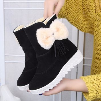On Sale Hot Deal Thick Crust Winter Butterfly Cotton Wedge Boots [47583330311]