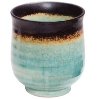 Aqua and Bronze Tea Cup