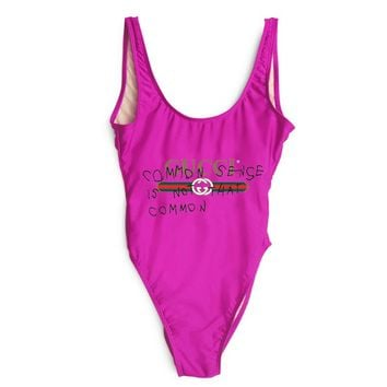 GUCCI SWIMMER SWIM TAN TOP VEST SHIRT  V NECK WOMEN LETTERS BOTTOMING CLOTHES BIKINI(5-Color) Rose Red