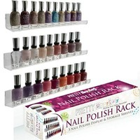 "Acrylic Nail Polish Rack. ""Invisible"" Versatile, 3 Floating Shelves Set - Wall Mount, Holds 45 Bottles"