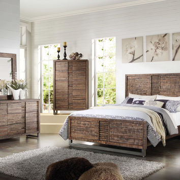 Acme Andria Eastern King Bed, Reclaimed Oak