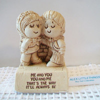 Retro Paula Figurine 1970 Me And You You And Me Thats The Way It'll Always Be Vintage Kitschy Sillisculpt Cake Topper Valentine's Day