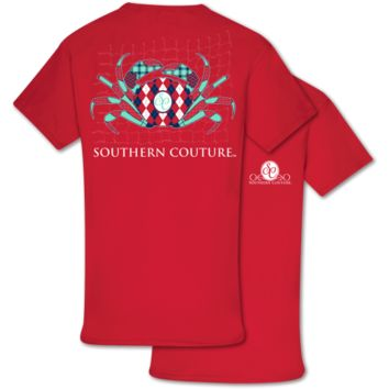 Southern Couture Preppy Pattern Crab T-Shirt