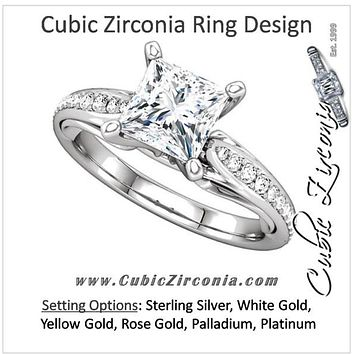 Cubic Zirconia Engagement Ring- The Wendy (0.5-2.0 Carat Princess-Cut Dual Teardrop Setting with Pave Band)