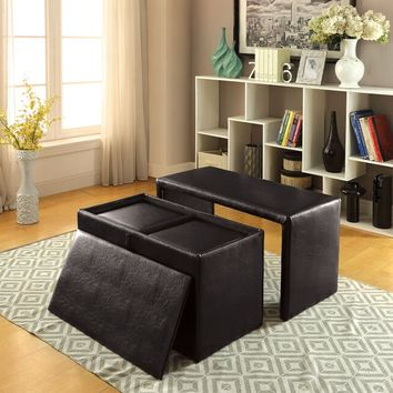 4 pc ellie collection espresso leatherette rectangular storage ottoman foot stool bench