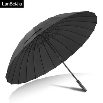 Large Women umbrella Rain Women 24K Windproof male Walking Stick Umbrellas Men Leather Golf Sun Paraguas Colorful Parasol Cane