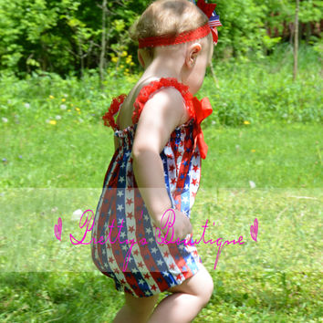 4th of July Outfit Fourth of july romper-- 4th of july outfit Patriotic Bubble Romper-- Girls romper-- Summer outfit--  READY TO SHIP
