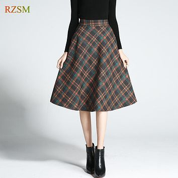New Vintage Spring Autumn Winter Women Wool Midi Skirt Women Elastic Plaid Woolen Skirt Falda Invierno Plus Size S-3XL