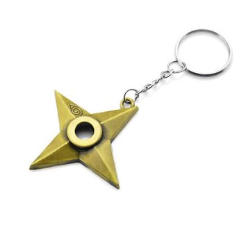 Original New Fashion Naruto Keychain Dart Weapon Konoha Logo Uzumaki Naruto Keyring Key Chain Ring Ninja Anime Jewelry Gift