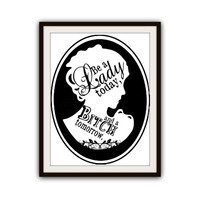 Feminine Lady Cameo Black and White Typography Poster