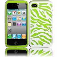 Neon Green/White Zebra Silicone+PC Hard Case Cover for Apple Iphone 4G 4 4S