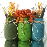 Hand Painted Mason Jars, Set of Three Mason Jars, Rustic Home Decor -- Dark Green, Medium Green and Teal Jars