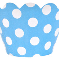 Cupcake Wrapper 20pcs baby Blue with White Polka Dots