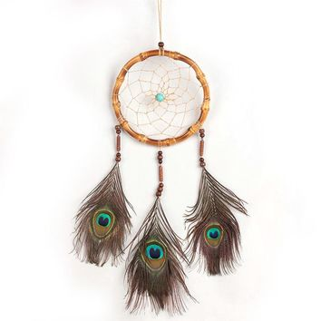 "Antique Handmade Dream Catcher peacock feather wall hanging decoration Wind Chimes ornament-25"" Long"