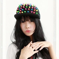 New Trendy Accessories Fluorescent Candy Colorful Rivet Hats For Unisex Hip Pop Hats Fashion Baseball Cap Snapback (Color: Multicolor) = 1905925828