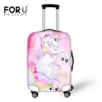 FORUDESIGNS Stylish Cartoon Unicorn Pony Luggage Protective Covers Travel Accessories 3D Flamingo Printed Suitcase for 18-30Inch