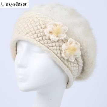 L-azyseason Fashion winter hats for women Skullies beanies High Quality Knitting rabbit fur cap ladies Hats Warm Winter cap
