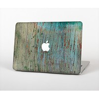"""The Chipped Teal Paint on Aged Wood Skin Set for the Apple MacBook Pro 13"""""""