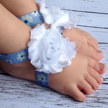 Floral Baby Barefoot Sandals….Barefoot Sandals Baby Girl…Blue Flower Elastic Sandals