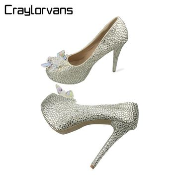 Craylorvans 2018 Rhinestone High Heels Cinderella Shoes Women Pumps Platform Round toe Woman Crystal Wedding Shoes