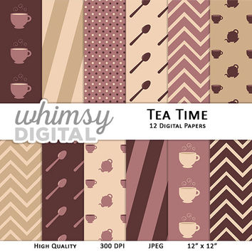 Tea Digital Paper with Teacups, Kettles, Spoons, Chevron, Stripes, and Polka Dots in shades of Purple, Tan, and Cream