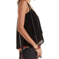 Black Quilted Fringe Cross-Body Bag by Charlotte Russe