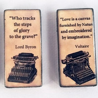 Literary Masters Great Works Quotes Book Lovers Refrigerator Fridge Ceramic Magnet Set Nietzsche, Byron, Voltaire, and Wilde