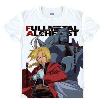 Anime T-shirt graphics Coolprint  Fullmetal Alchemist of Steel T-Shirts Multi-style Short Sleeve Edward Elric Alphonse Cosplay Motivs Shirts AT_56_4