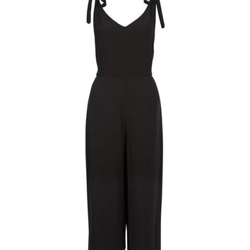Black Tie Straps Wide Leg Jumpsuit