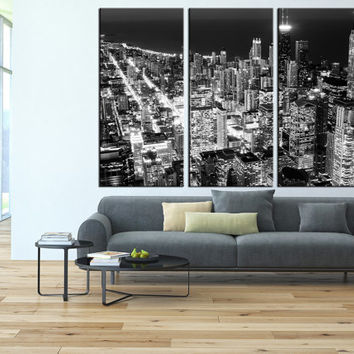 Chicago wall art, Chicago Skyline wall art canvas Chicago Canvas print, Chicago Night light Canvas Print, large wall art Ready to Hang  t141