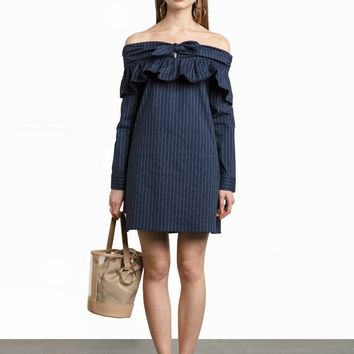 Navy Pinstripe Bow Tie Cold Shoulder Dress