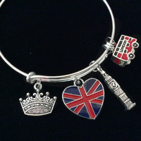 British Flag Big Ben Bus Crown Expandable Charm Bracelet Silver Wire Bangle