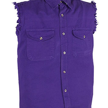 Mens Motorcycle Biker Shirt Purple Cut Off Sleeveless Cotton Denim Button up