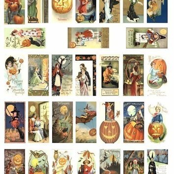 Halloween witches black cats pumkins children clip art digital download collage sheet 1 BY 2 inch rectangles vintage postcard images