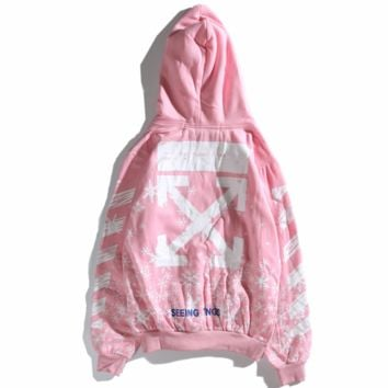 OFF-WHITE 2018 tide silver snowflake full printed couple models hooded sweater Pink