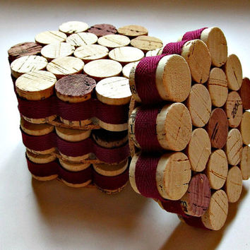 Honeycomb Wine Cork Coasters with Burgundy Ribbon - Set Of Four - Eco Friendly Fall Decor Christmas Wedding Gift