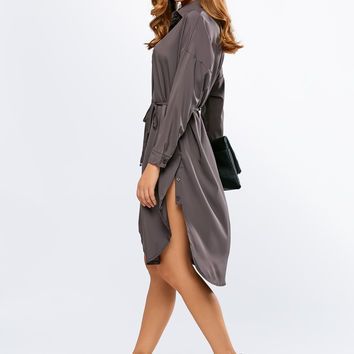 Tie-Waist Boyfriend Shirt Dress