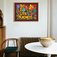 Try A Little Kindness 1970s Poster Wall Art - Bright Rainbow Floral Hippie Wall Print - Poster