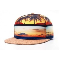 Palm Trees Sunset Snapback Hat Sublimation 3D Print Cork Brim