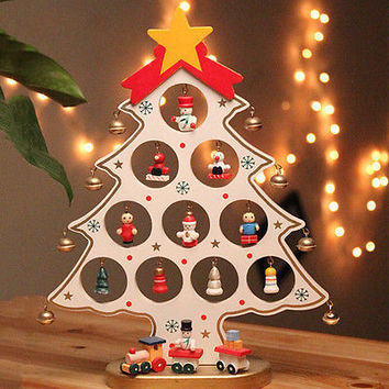 Wooden Christmas Tree Christmas Ornaments Decoration Desk Decor Xmas Gifts27CMHU