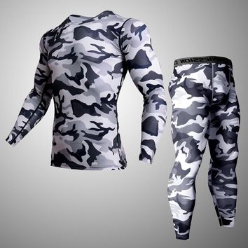 Men sports tracksuits set compression shirt  fitness pants skin tight long sleeves rashguard MMA training clothes gym yoga suits
