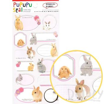 Bunny Rabbit Glossy Photo Label Index Stickers for Scrapbooks and Card Making