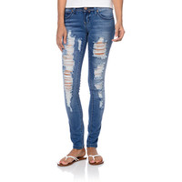 YMI Rip And Tear Blue Skinny Jeans at Zumiez : PDP